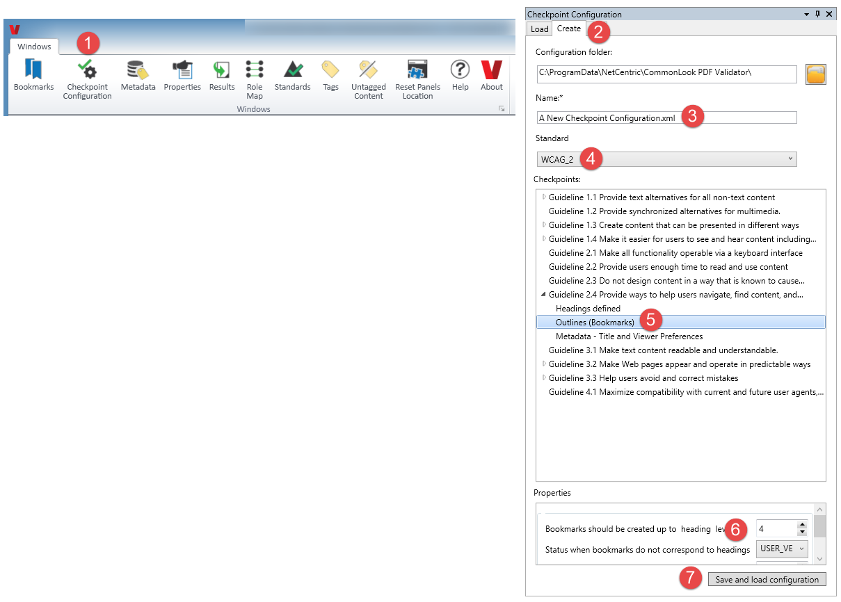 Creating a new checkpoint configuration in the CommonLook PDF Validator. The various buttons and options as described in the listed steps are highlighted in the screenshot.