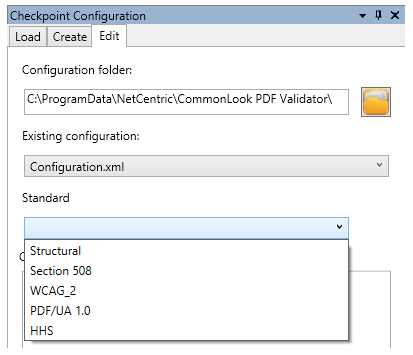 The edit checkpoint configuration panel showing the standards to reconfigure.