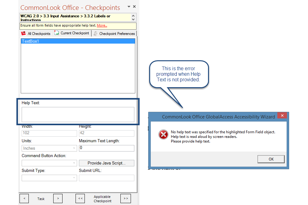 Screen shot of the Form checkpoint in CommonLook Office GlobalAccess. The Help Text box is highlighted and the error that a user receives when help text is not provided is also shown.