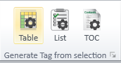 The Generate Tag from Selection Group on the Insert Tag Tab on the CommonLook PDF Global Access Ribbon.