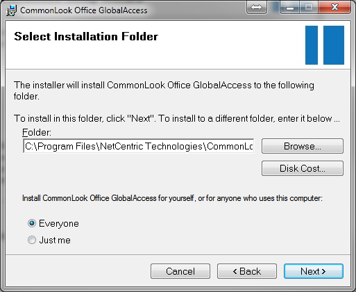 Screen-shot of the select installation folder dialog.