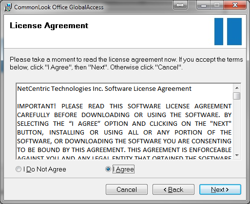 NetCentric License Agreement window.