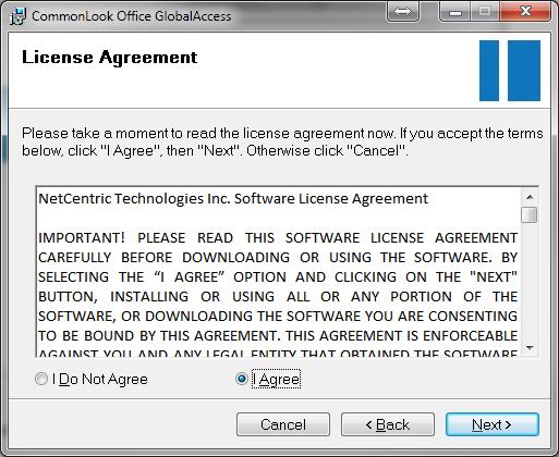 Screen-shot of license agreement dialog.