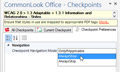 Screen Shot in CommonLook Office Global Access showing the Checkpoint Preference being set to Always Stop.