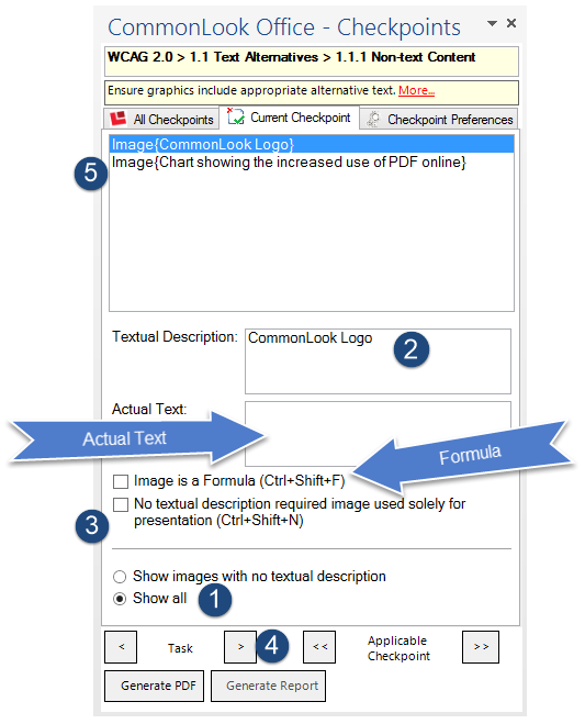 Screen shot of the CommonLook Office Global Access panel for adding Alternative text to images or marking them as artifacts.