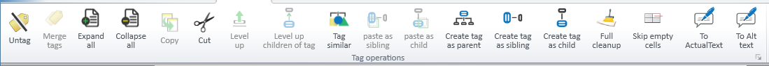 Screen shot of the Operations Tab options when a tag other than the Tag Root is selected.