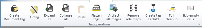 Screen shot of the Operations Tab options available when the Tag Root is selected.