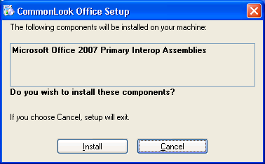 Installation dialog for MS Office 2007 Primary Interop Assemblies.
