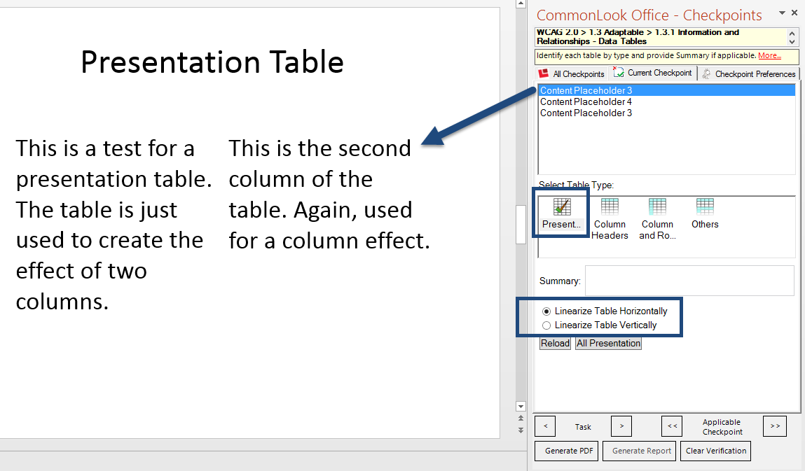 Screen shot of the Table Checkpoint in CommonLook Office Global Access for PowerPoint. A table is listed in the CommonLook panel and it is identified as a presentation table in the slide. The table type in CommonLook is marked as Presentation and the radio button to linearize the table horizontally is selected.