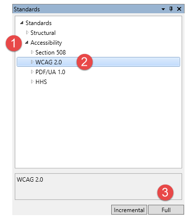 The Standards panel open, the Accessibility Check options displayed, and the Full check button identified according to the steps as outlined.