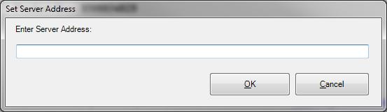 Set server address dialog.