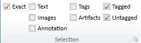 Screen shot of the Selection Group on the Settings tab in the CommonLook PDF Global Access Ribbon.