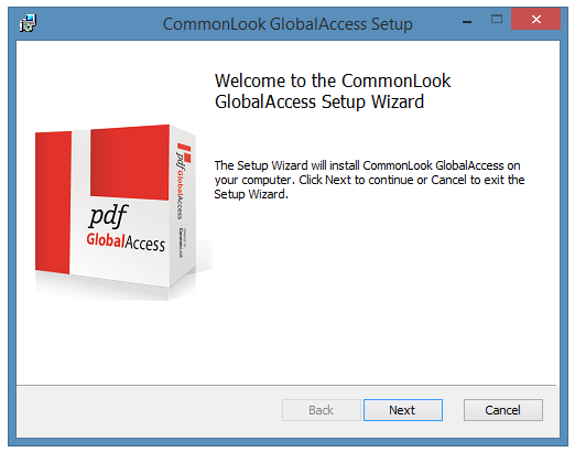 The CommonLook PDF GlobalAccess Setup Welcome screen.