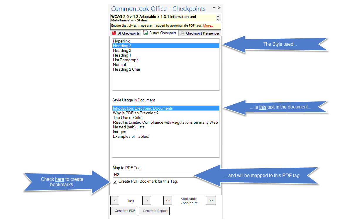 Screen shot of the CommonLook Office Global Access panel to check, verify, and change style mapping to PDF tags.  The checkbox to generate bookmarks from heading tags is also identified.