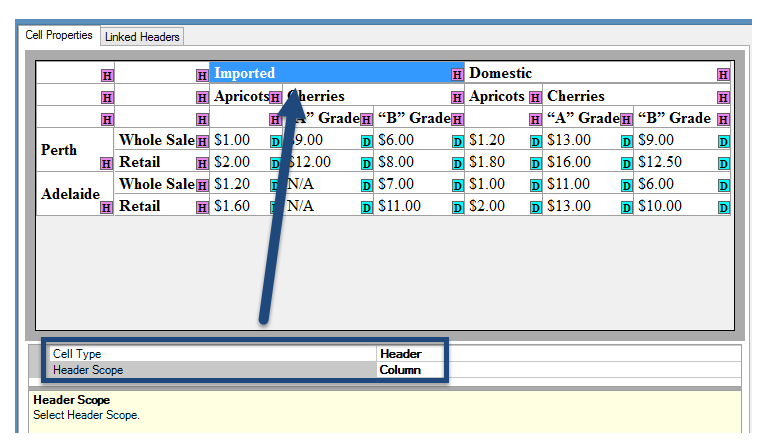 Screen shot of the Cell Properties panel in CommonLook Office Global Access. In the table, a column header cell is selected and below the table, the boxes for cell type - marked as a header cell - and the header scope - set to column - are highlighted.