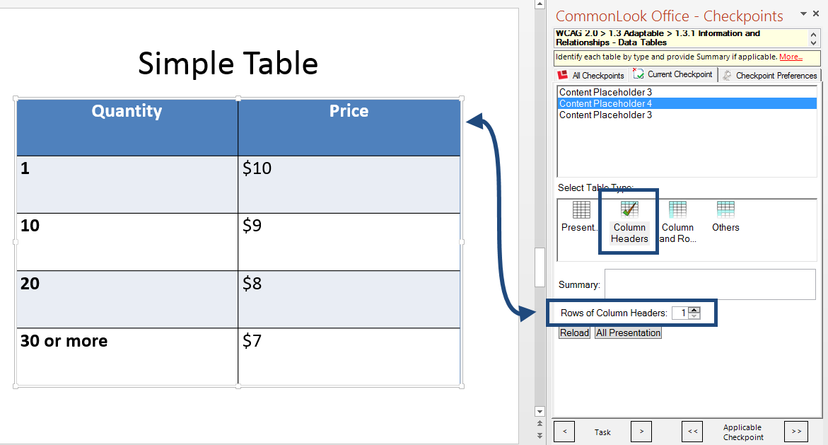 Screen Shot of the Table checkpoint in CommonLook Office Global Access for PowerPoint. A simple table with one row of column headers is identified and marked accordingly with the table type and column header row selections.