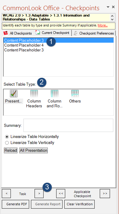 Screen shot of the Tables panel in CommonLook Office Global Access. The list of tables, the table type options, and the Next Task arrow are identified.