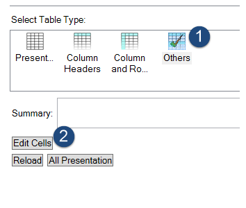 Screen shot showing the CommonLook Office panel with the table type set to Others and the Edit Cells button identified.