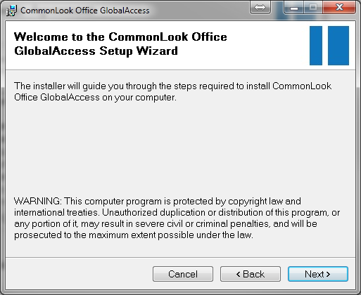 Screen shot of the CommonLook Office GlobalAccess setup wizard.