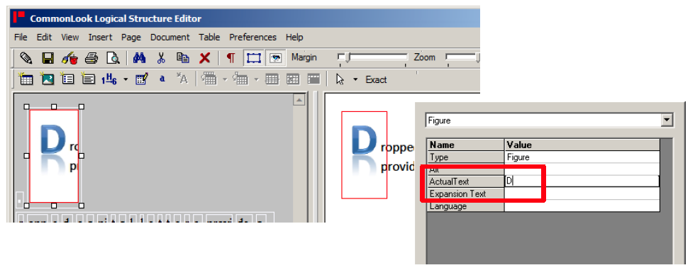 "Screen shot demonstrating the application of actual text to a dropped capital letter ""D""."