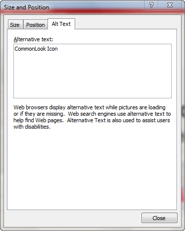 Picture of the Size dialog box which allows the user to specify the alternative text for an object.