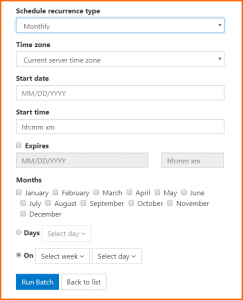 "The ""Monthly"" scheduling option in CommonLook Dynamic."