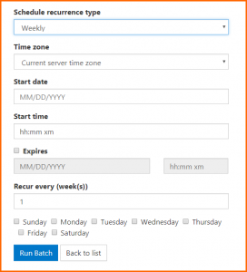 "The ""Weekly"" scheduling option in CommonLook Dynamic."
