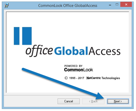 "The CommonLook Office splash screen with the ""Next"" button highlighted."