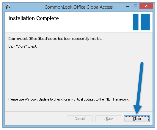 "Screen shot of the ""Installation Complete"" dialog with the ""Close"" button highlighted."