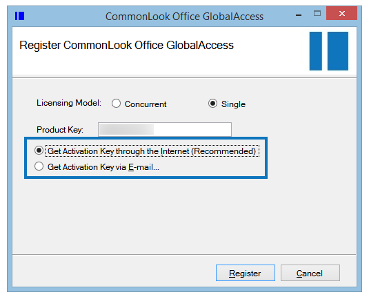 The Register CommonLook Office GlobalAccess screen with the Activation options highlighted. The Activate by Internet radio button is selected.