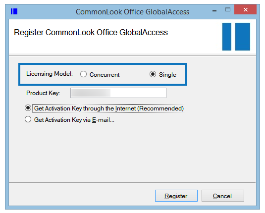 """The Register CommonLook Office GlobalAccess Screen with the Licensing Model options highlighted. The """"Single"""" user radio buttion is selected."""