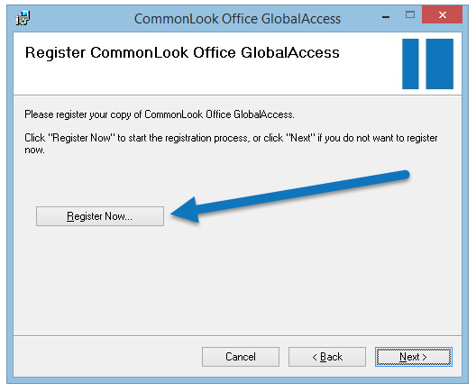 "The ""Register CommonLook Office GlobalAccess"" screen with the ""Register Now"" button highlighted."