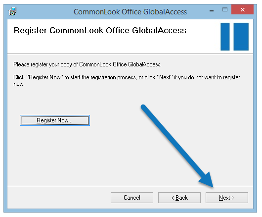 "The Register CommonLook Office GlobalAccess screen with the ""Next"" button highlighted."