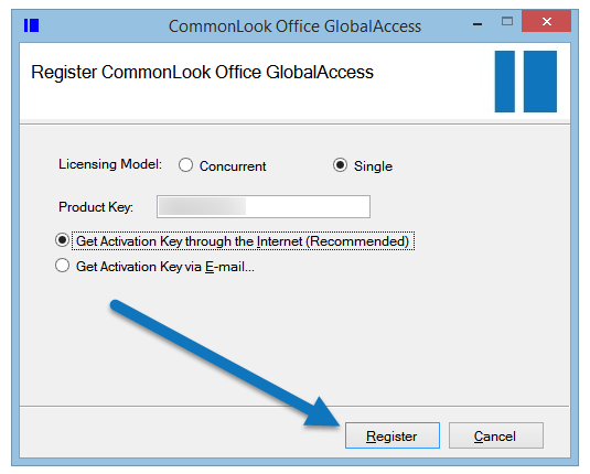 "The CommonLook Office registration screen with the ""Single User"" licensing model and ""Get Activation Key through the Internet"" radio buttons selected. The ""Register"" button is also highlighted."