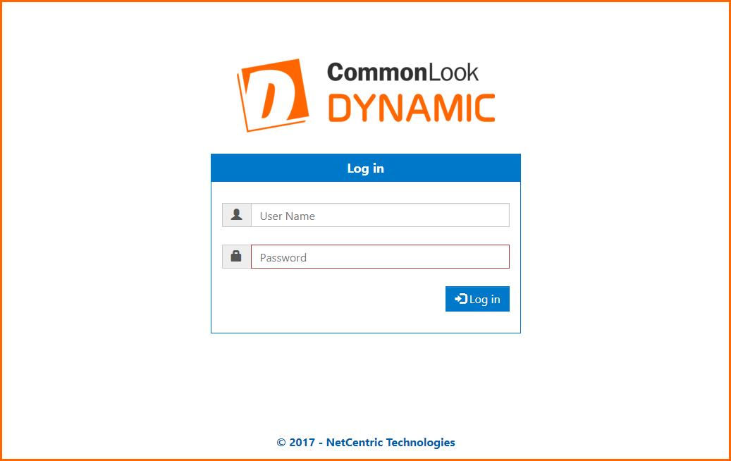 The CommonLook Dynamic Login Screen showing the User Name and Password fields as well as the Login button.