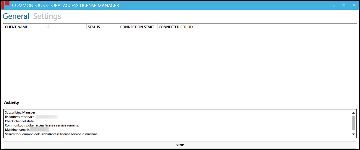 The General Screen in the CommonLook GlobalAccess Licensing Manager.