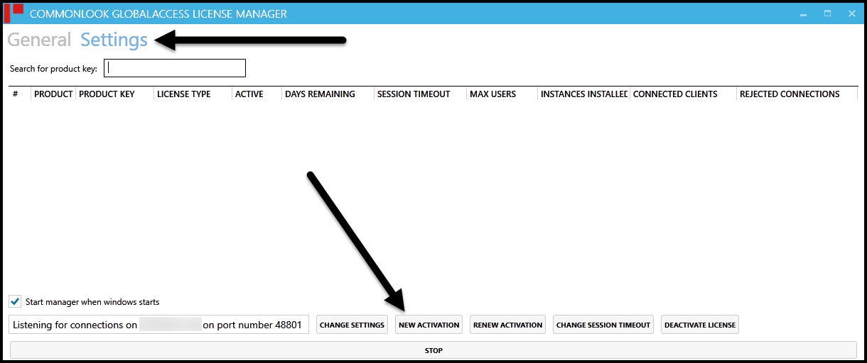 "The Settings screen in the CommonLook Licensing manager with the ""New Activation"" button highlighted."