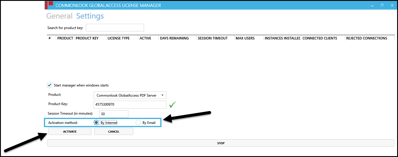 "The CommonLook Licensing Server Manager New Activation screen with the Activate by Internet option selected and the ""Activate"" button highlighted."