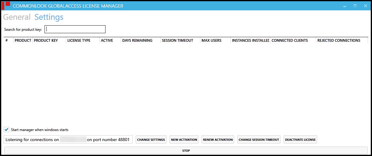 The opening screen of the CommonLook Licensing Manager.