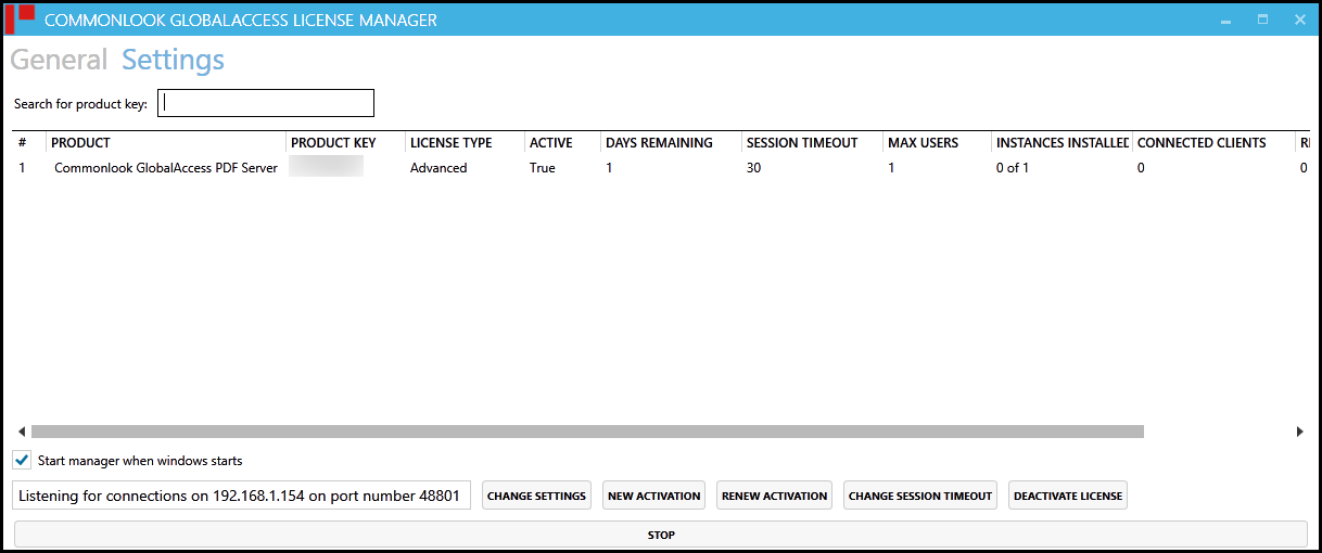 The Licensing Server Manager screen displaying product and user information as described in the preceding paragraph.