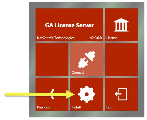 The Install button is highlighted in the CommonLook GA Licensing Server setup screen.