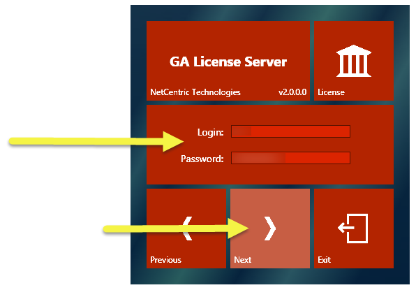 "The GA License Server installation screen with the Login and Password fields, as well as the ""Next"" button highlighted."