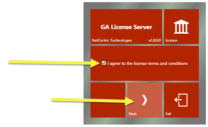 "The CommonLook GA License Server licensing agreement screen. The ""I agree"" checkbox is checked and the ""Next"" button is highlighted."