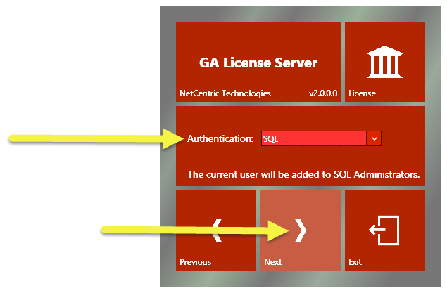 "The GA License Server Installation screen showing the SQL Authentication option selected and the ""Next"" button highlighted."