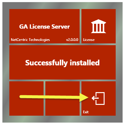 "The GA License Server installation screen indicating that the License Server has been successfully installed. The ""Exit"" button is highlighted."