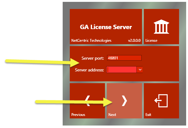 "The CommonLook GA License Server installation screen with the Server Port and Server Address fields highlighted. The port number 4 8 8 0 1 has been entered. The ""Next"" button is also highlighted."