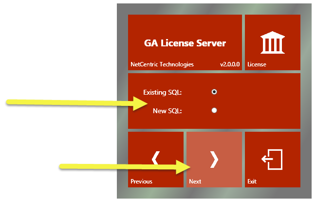 "The CommonLook GA License Server installation screen with options to use an existing SQL server or to create a new one. The ""Existing"" radio button is selected and the ""Next"" button is highlighted."