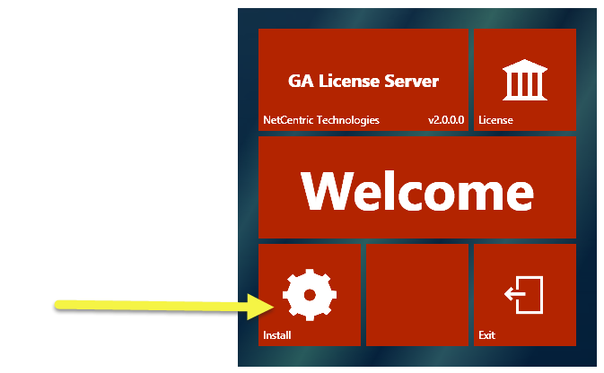 The CommonLook GA License Server Welcome screen with the Install button highlighted.
