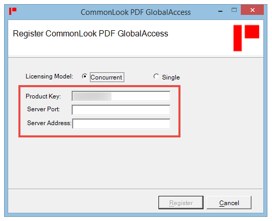The Register CommonLook PDF GlobalAccess screen with the Product Key, Server Port, and Server Address fields highlighted.