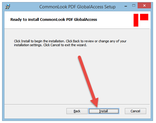 The Ready to install CommonLook PDF GlobalAccess dialog window and Install button.